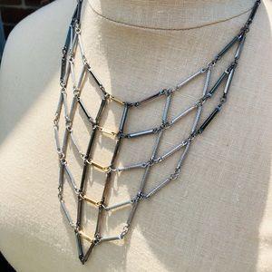 Multi-Toned Metal Bib Necklace